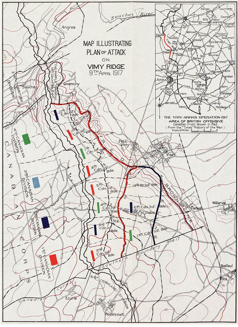 hight resolution of plan of attack on vimy ridge