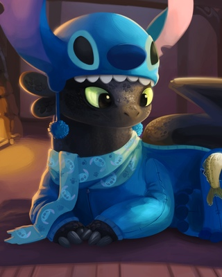 Cute Wallpapers Of All Kind Of Animals Toothless And Stitch Have A Sleepover In Fun Fan Art