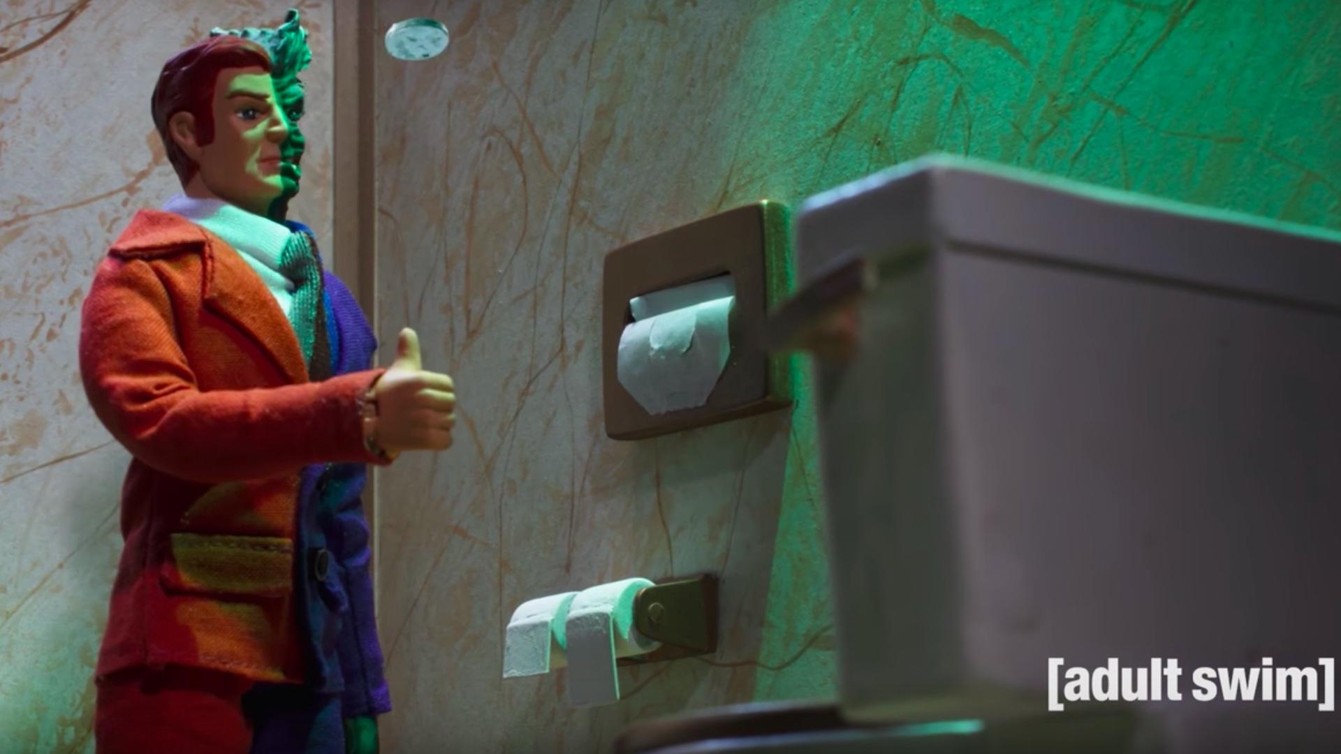 TwoFace Takes a Bathroom Break in Funny ROBOT CHICKEN