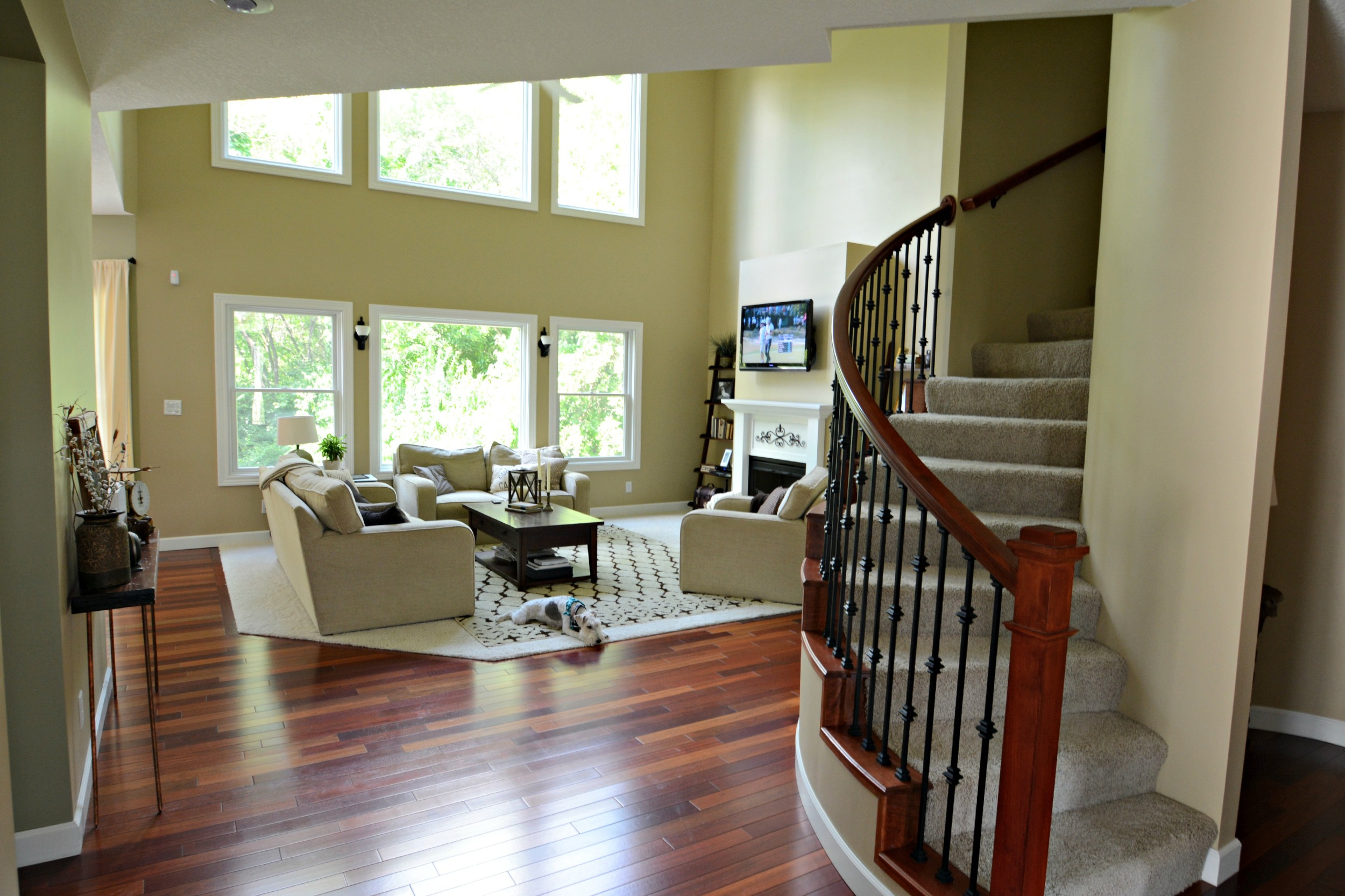 diy living room wall decor black furniture two story molding — and the dog
