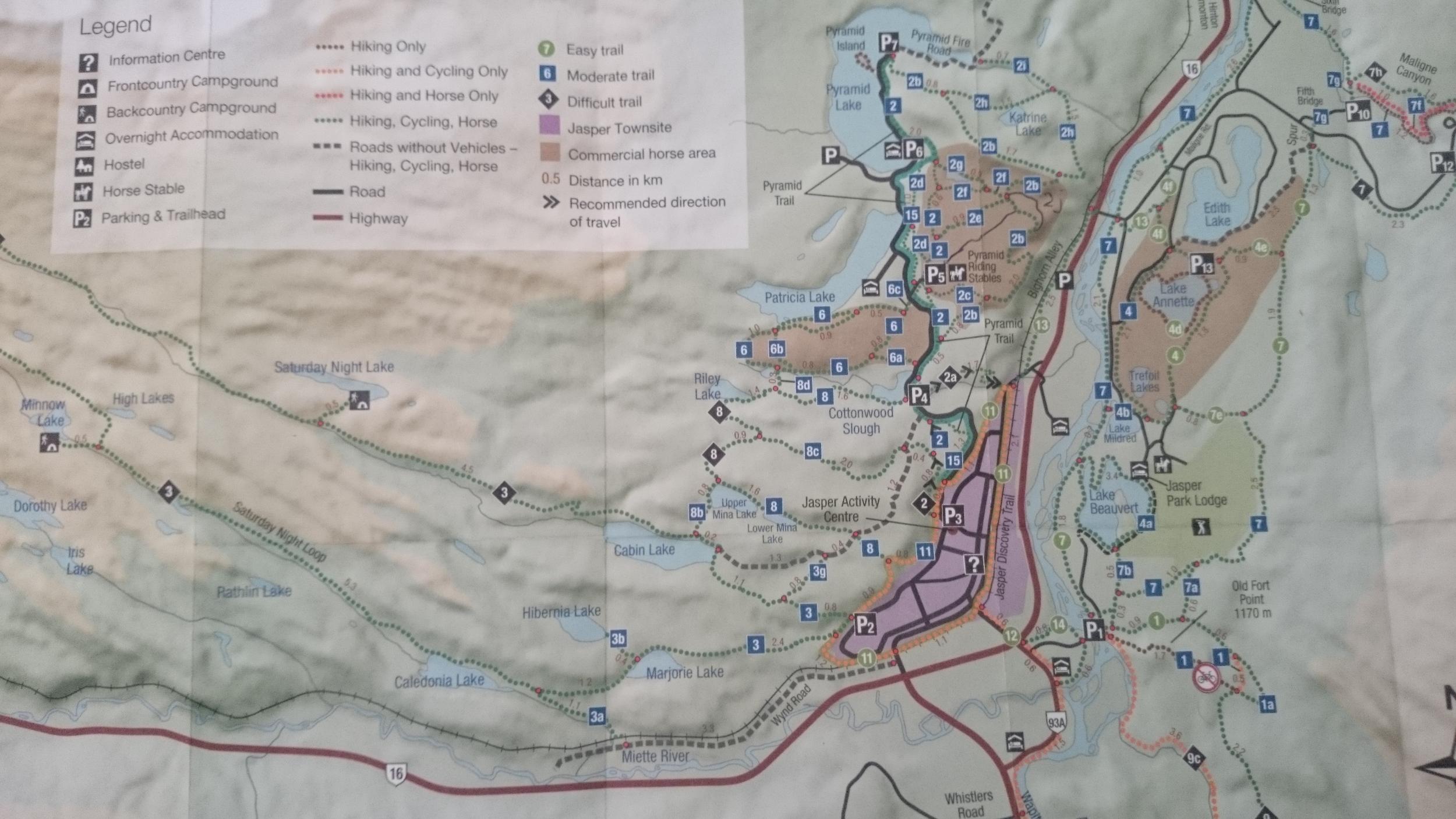 Jasper MTB Guide Trails Map