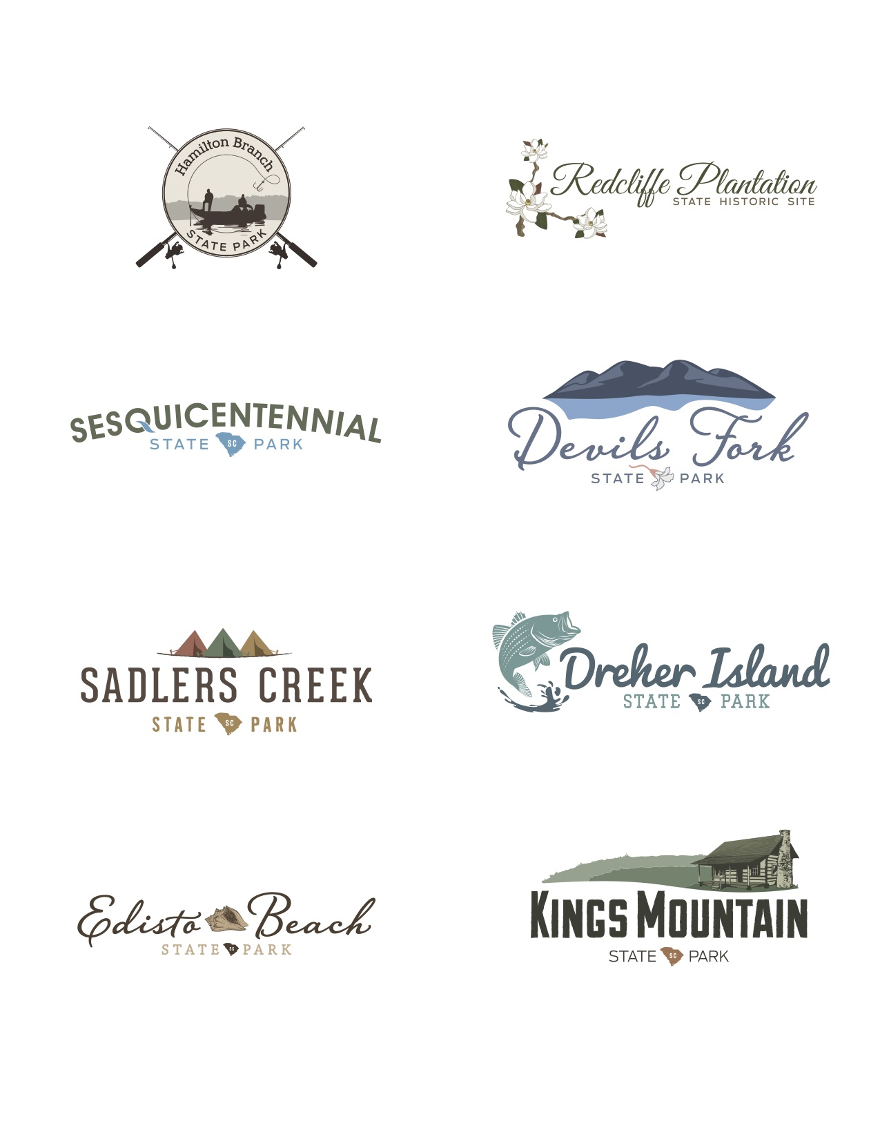 hight resolution of  some sort of imagery related to a magnolia tree famous in the region all of these logos are now the official identity of those specific state parks