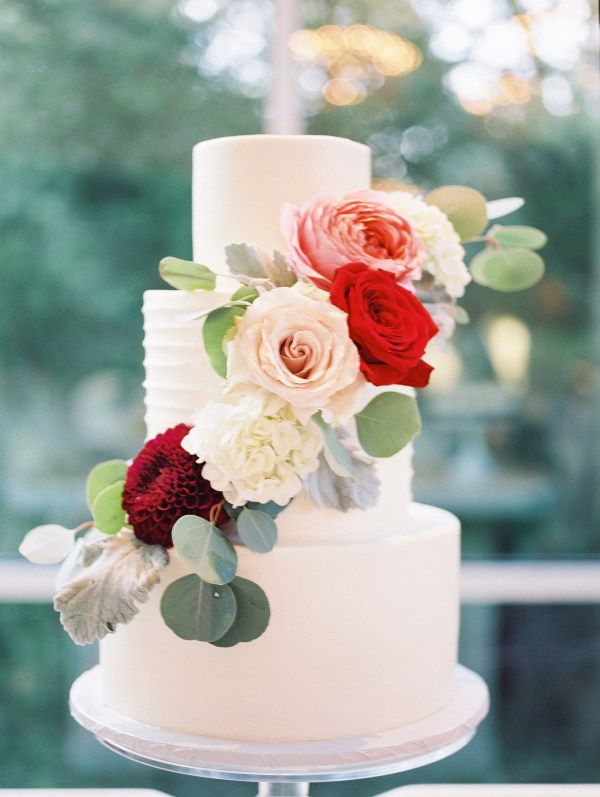 Burgundy Wedding Cake with Flowers