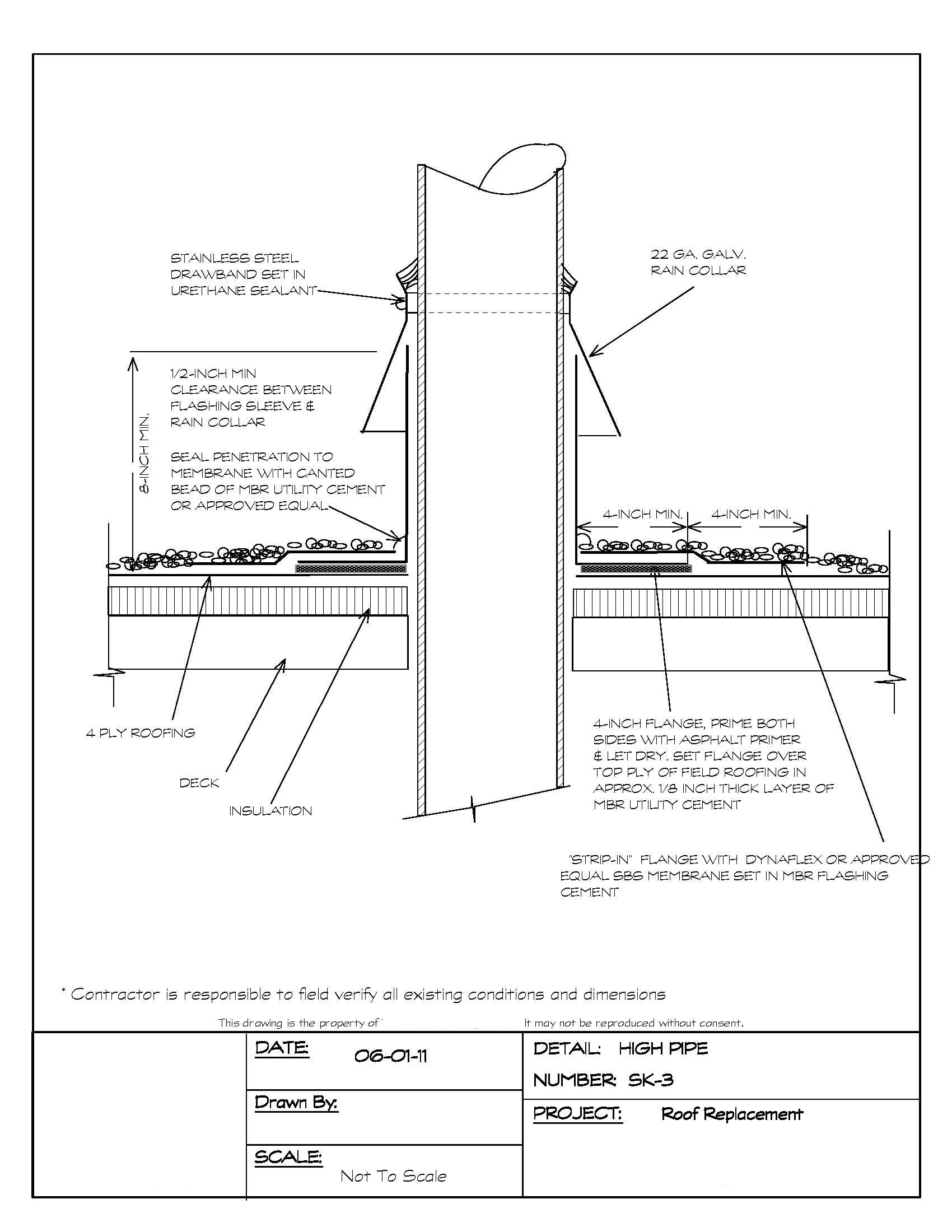 hight resolution of pipe penetration flashing detail for a built up roof