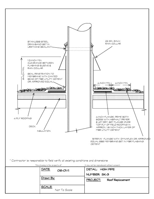 small resolution of pipe penetration flashing detail for a built up roof