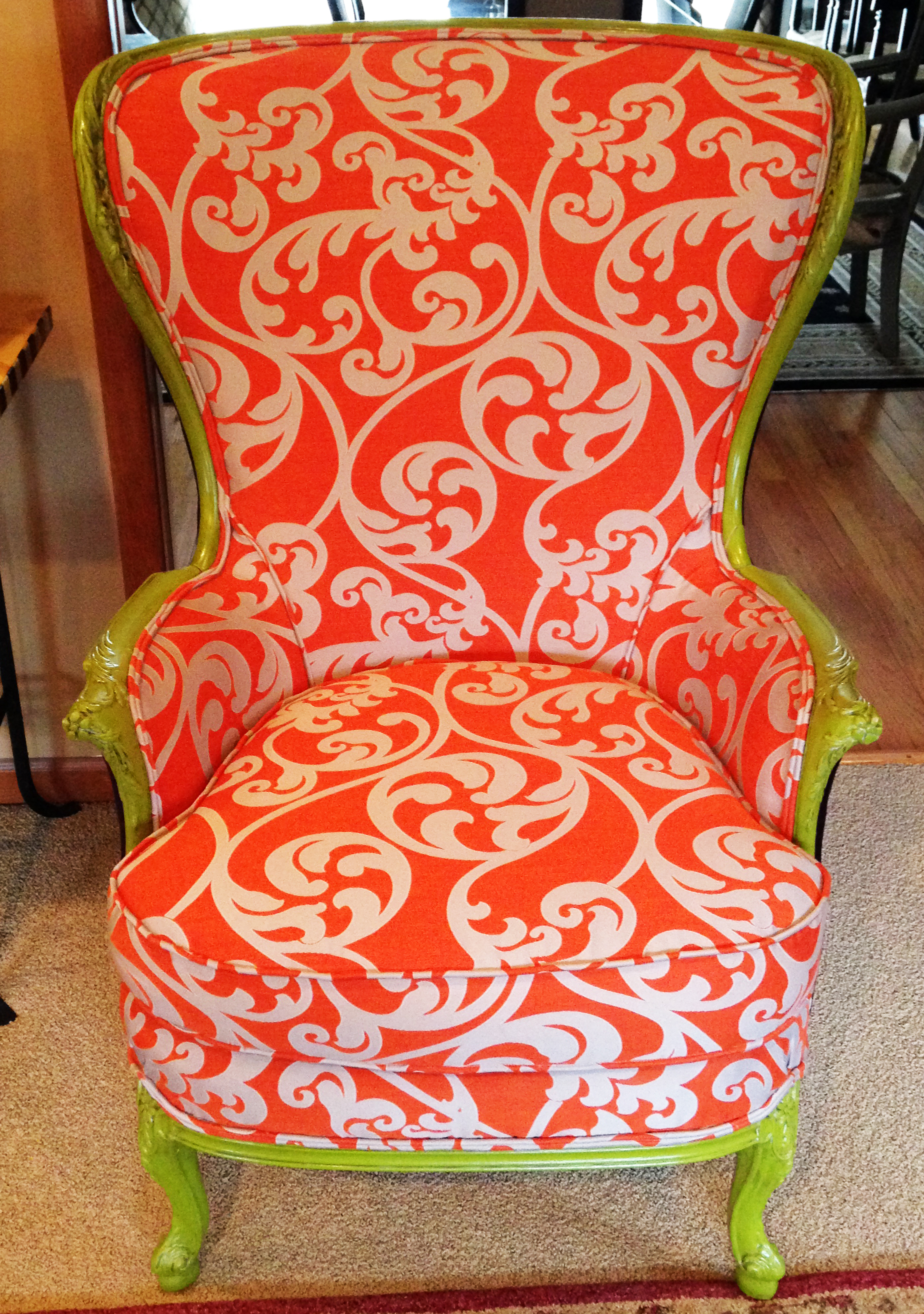 orange upholstered chair tween table and chairs what s next furniture after photo of revamped
