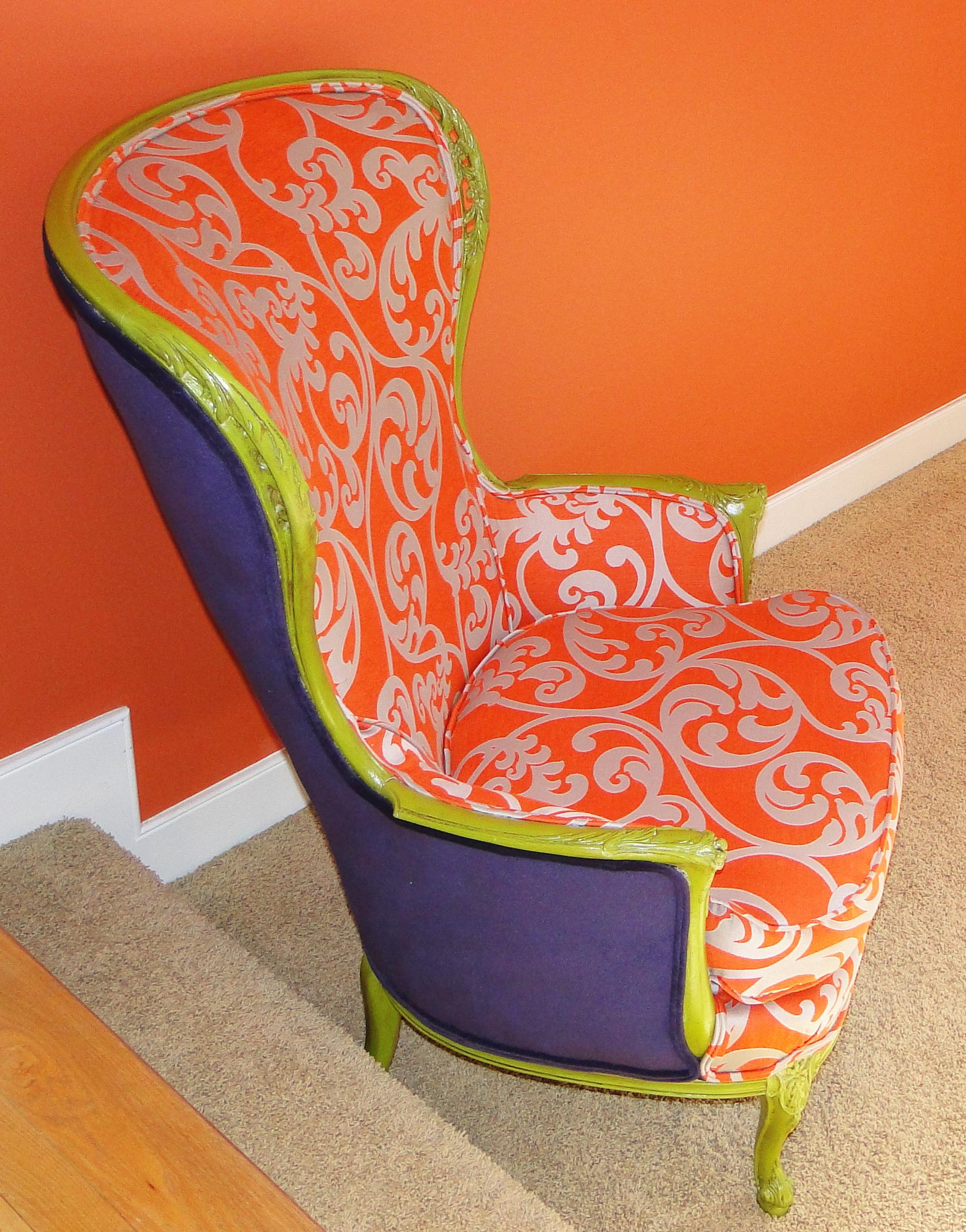 orange upholstered chair aeron hong kong what s next furniture back side of in gorgeous deep purple velvet