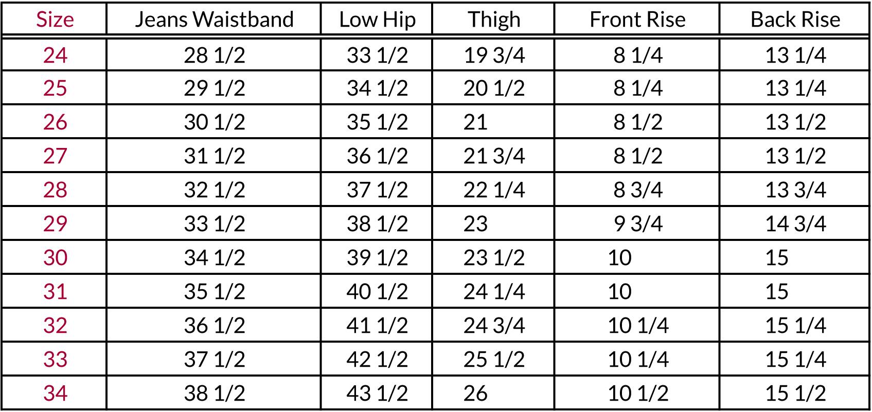 jean sizing chart