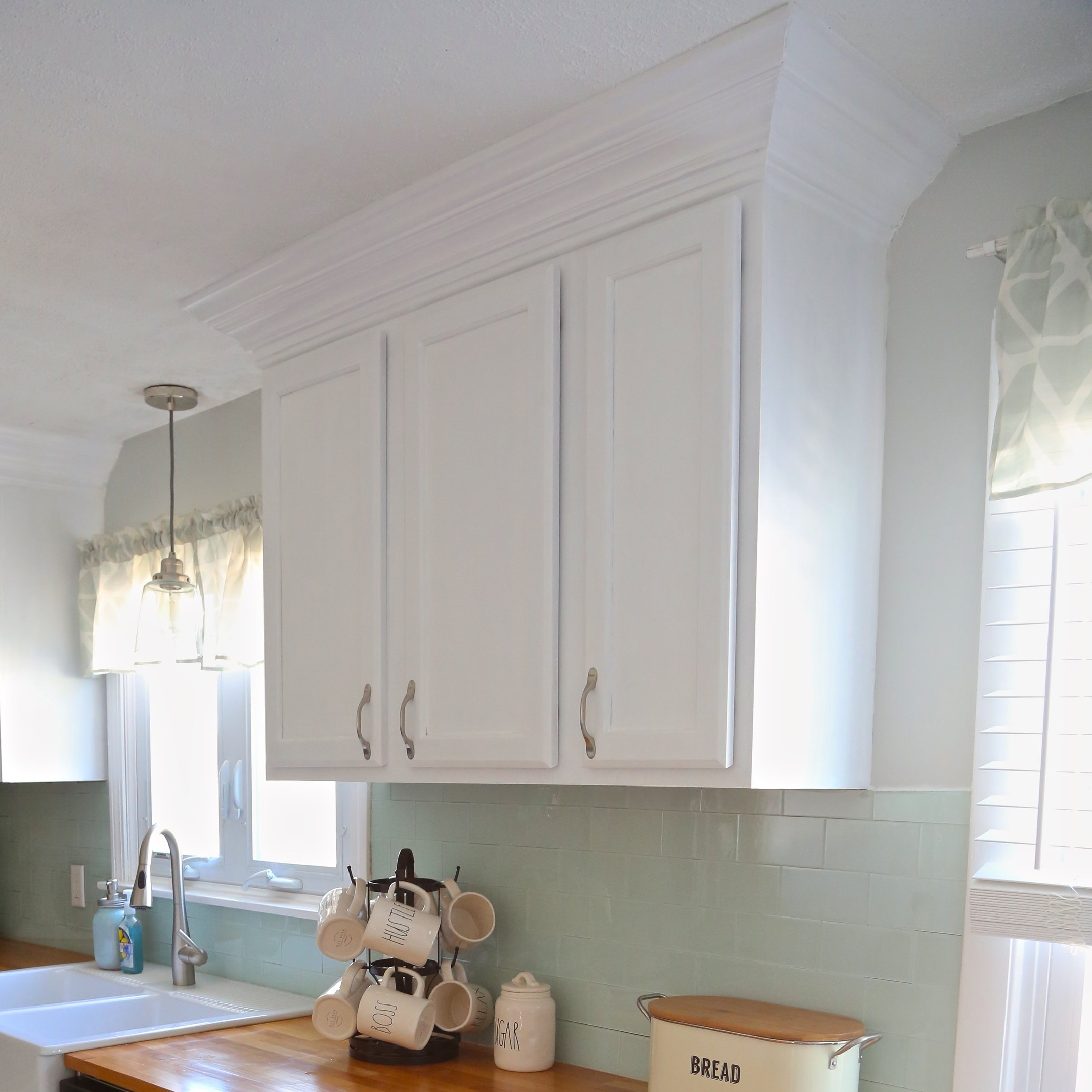 installing kitchen backsplash reclaimed wood island adding crown molding to your cabinets. — weekend craft