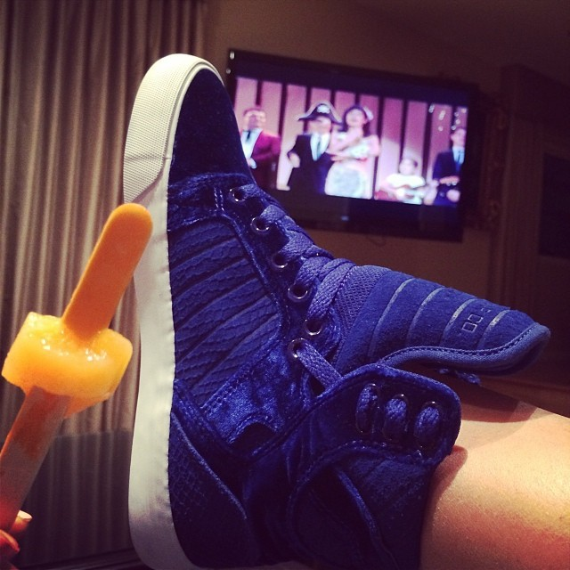 ROYAL BLUE VELVET SNEAKERS BY SUPRA  ShoeQUEENDOM