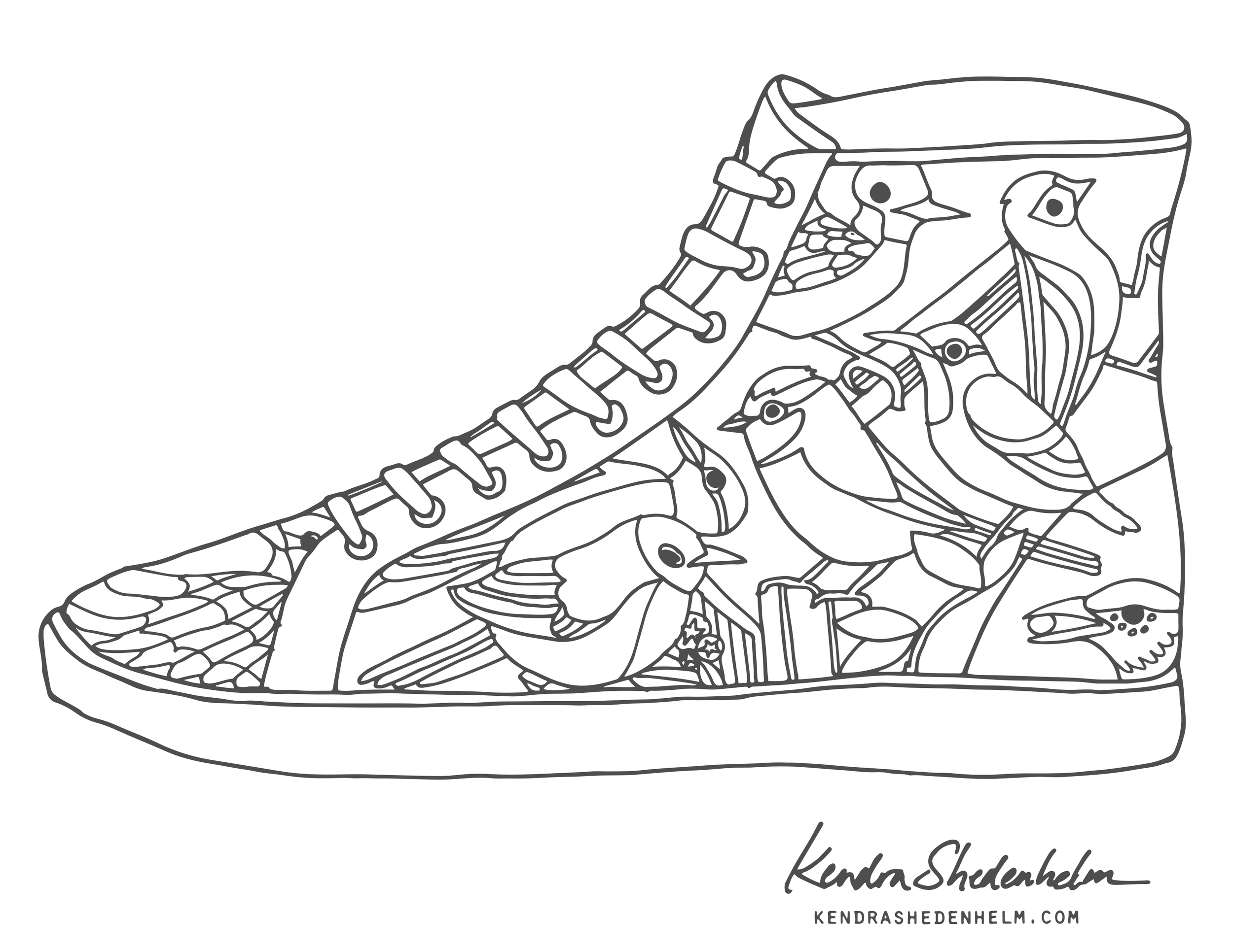Birds, doodles, shoes and FREE coloring pages! — Kendra
