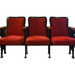 2 Seat Theater Chairs Accent Living Room Red Upholstered Seats Architectural Antiques