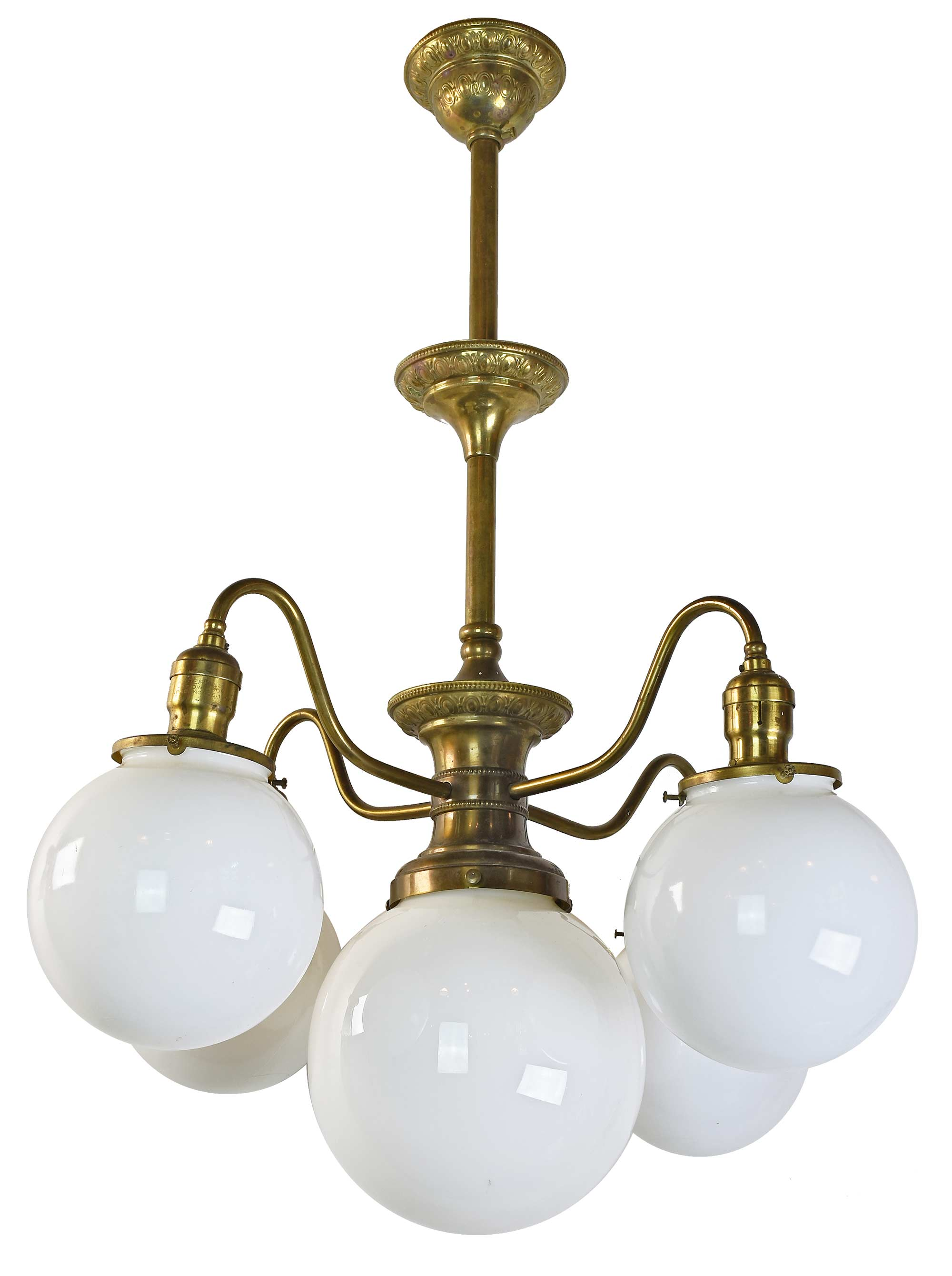 Brass 5 Light Chandelier With Globes Architectural Antiques