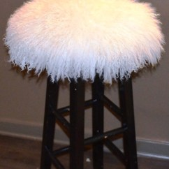 Chair Stool Covers And A Half Rocker Glider Mongolian Sheepskin Fur Or