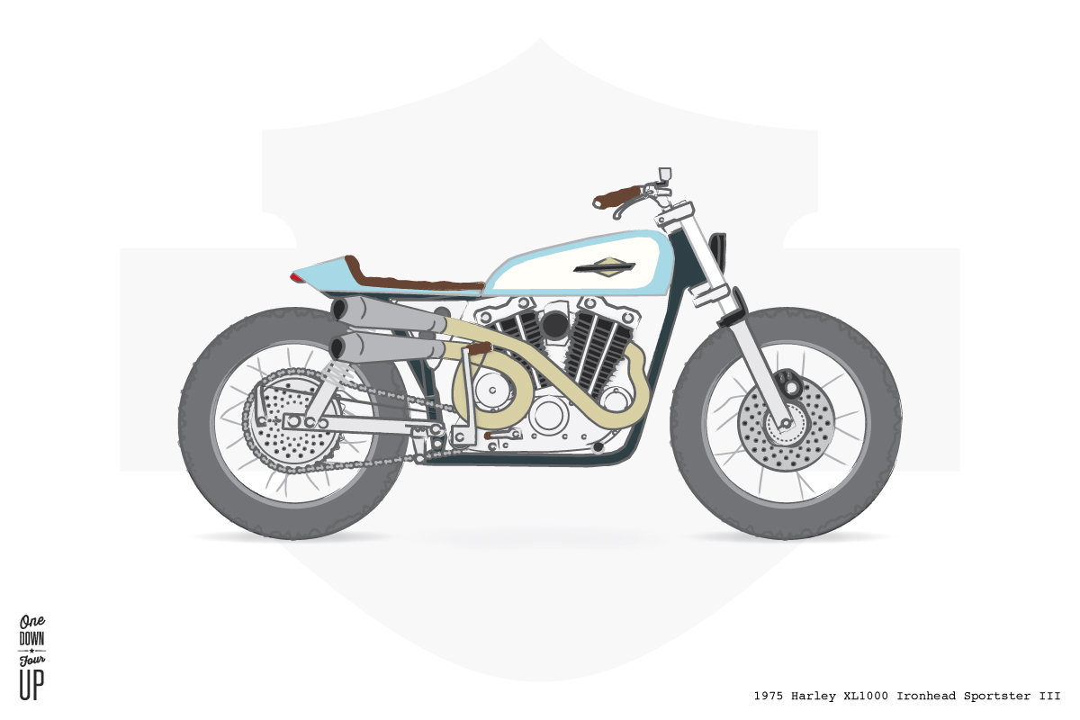 1975 Harley XLCH1000 Ironhead Sportster III — One Down Four Up