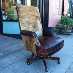 Desk Chair Made Shiatsu Massage Reviews Sold Stone Age Custom Executive Of Leather And Cowhide