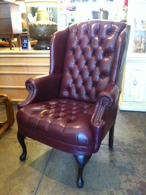 oxblood leather wing chair wooden kids chairs sold like father son pair of buttoned wingback casa victoria vintage furniture los angeles