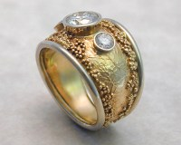 Handcrafted, wedding rings with spherical granulation and ...