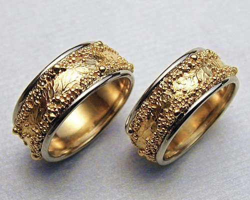Handcrafted Wedding Rings With Spherical Granulation And