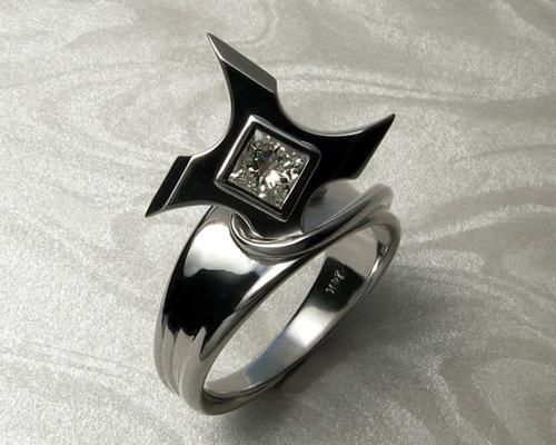 Ninja Star Shuriken Engagement Ring Metamorphosis Jewelry