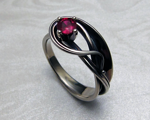 Contemporary Art Nouveau Style Engagement Ring With Ruby