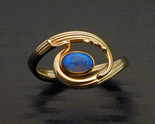 Handcrafted Art Nouveau style ring  Metamorphosis Jewelry