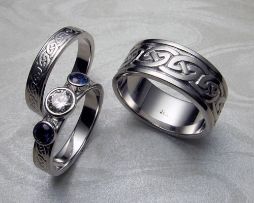 Celtic Wedding Rings Set Metamorphosis Jewelry