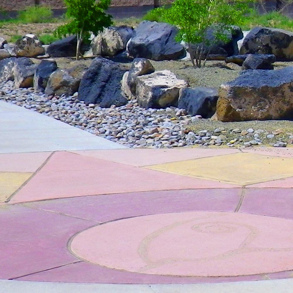 Colored concrete at park