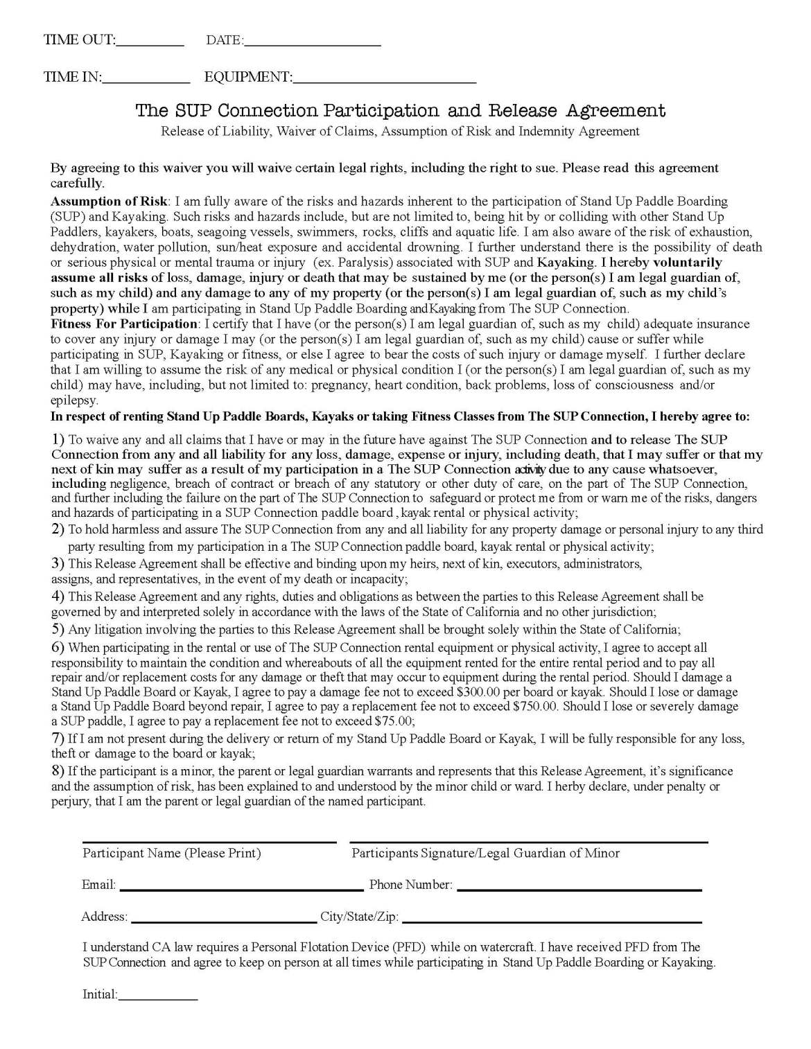 The SUP Connection waiver form