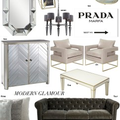 Glam Sofa Set Flip Out Toys R Us Decorating Advice Elements Of Modern Glamour The Decorista One Kiara Over Sized Mirror Two Chevron Mirrored Chest Three Greek Key Pillows Four Beautiful Grey Tufted Five Coffee Table Six Oyster