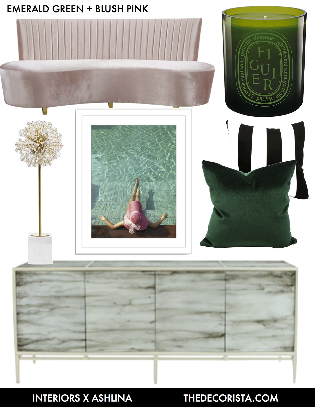 clayton sofa blue bed killer color combo: emerald, blush pink, black and white ...