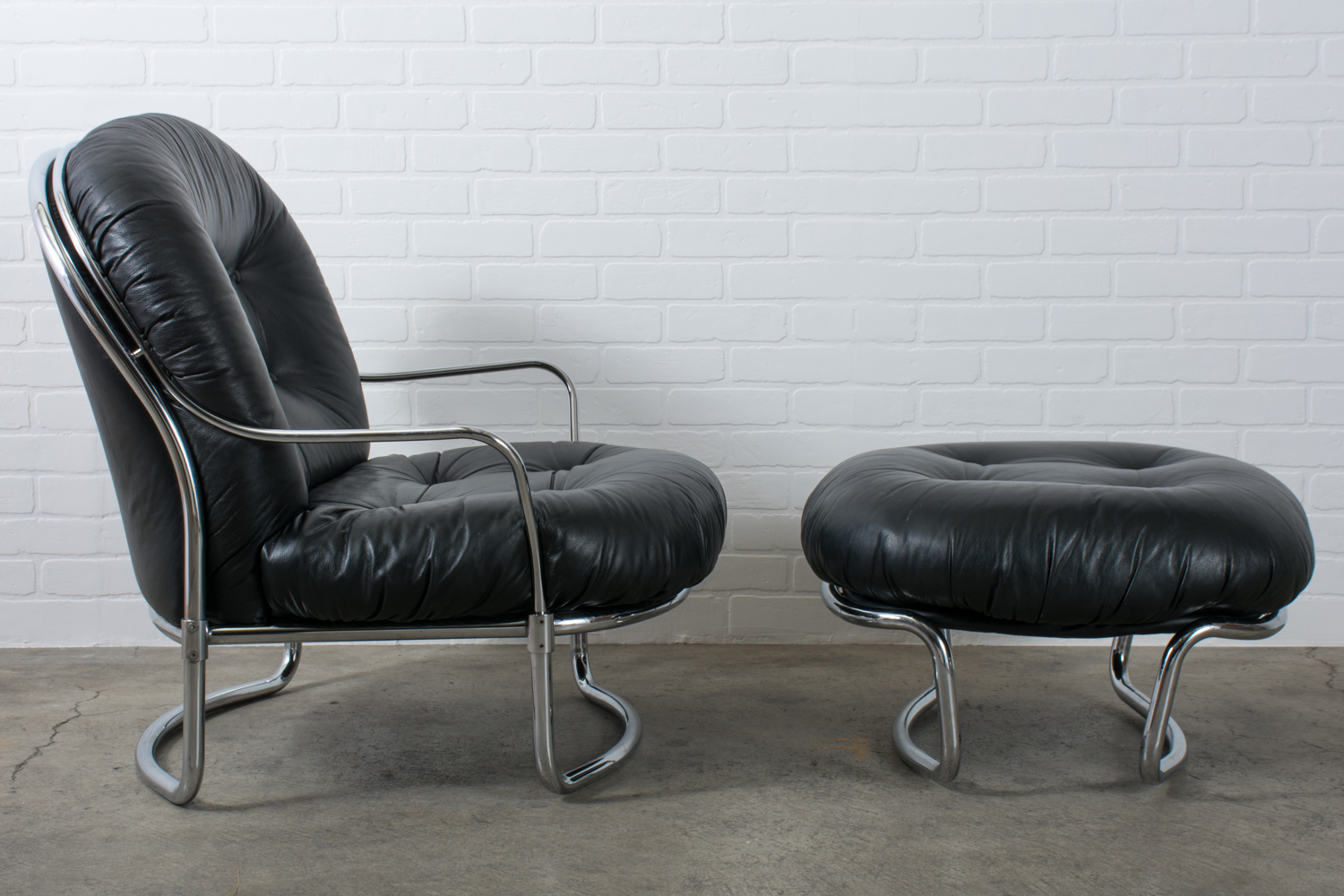 Black Leather Lounge Chair Carlo Di Carli Black Leather Lounge Chair And Ottoman Italy 1960s