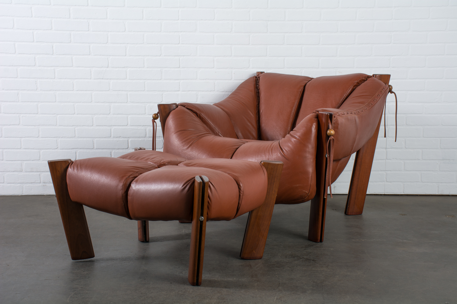 Modern Leather Chairs Brazilian Modern Leather Lounge Chair And Ottoman By Percival Lafer