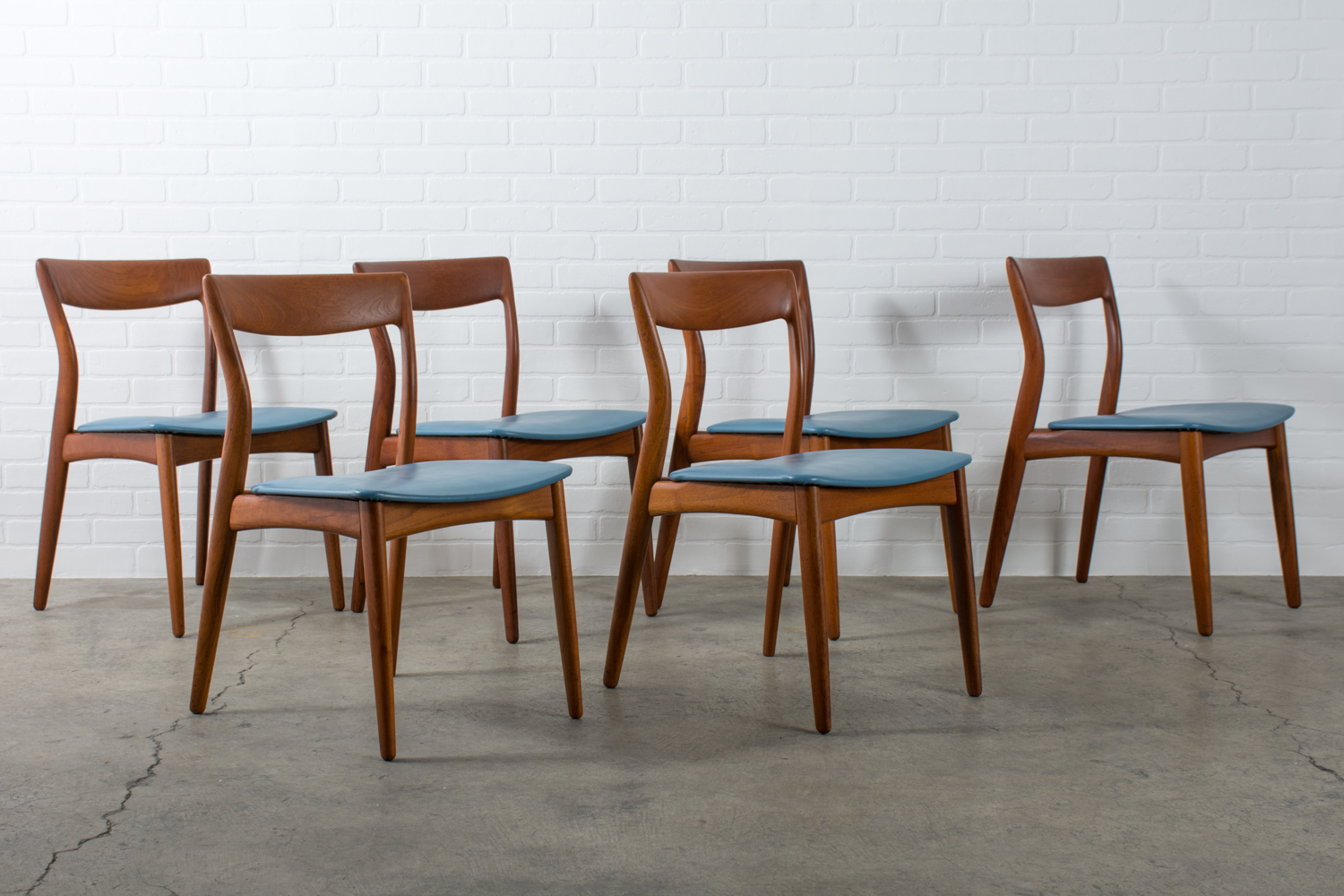 mid century dining chairs mesh office chair six modern teak by viborg stolefabrik denmark finds