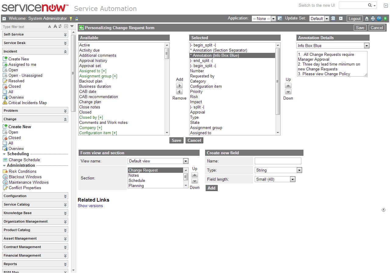 Form Annotations — ServiceNow Elite