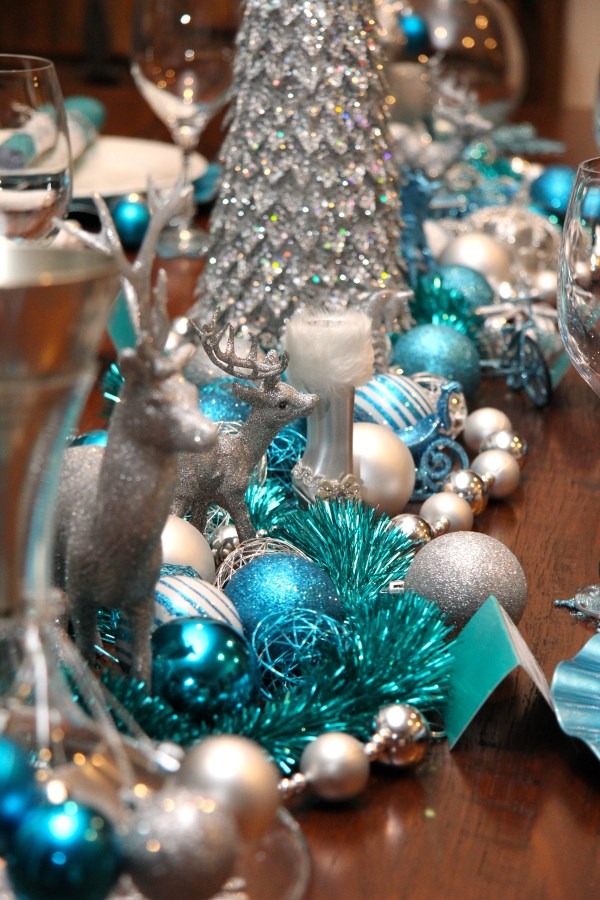 blue and silver christmas table decorations - Silver Christmas Table Decorations