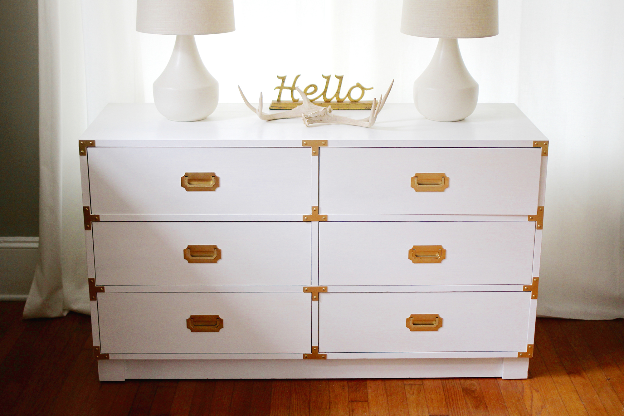 Restoring a Classic Campaign Dresser in White and Gold