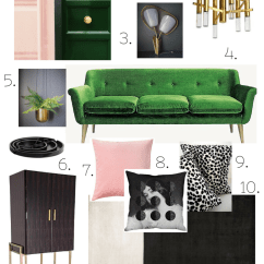 Living Room Colour Schemes With Grey Sofa How To Decorate A Short Narrow Schemes: Blush Pink, Emerald Green And Brass ...