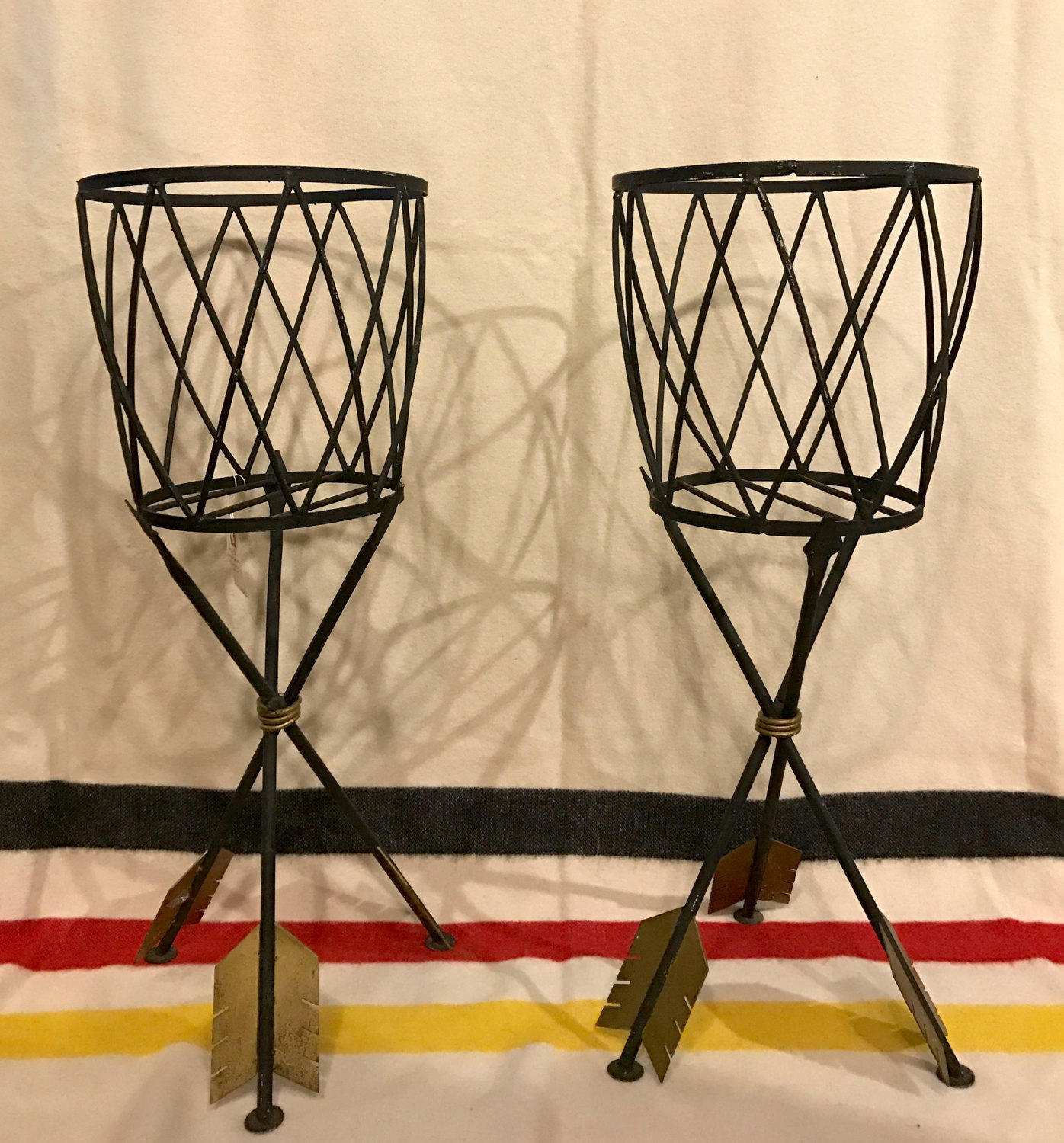 Magnificent Pair Of Mid Century Modern Metal Plant Stands Pick Up Only The Times Vintage
