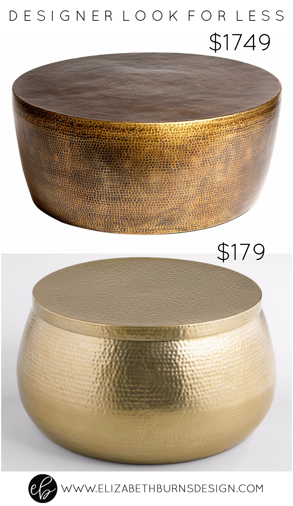 Designer Look for Less: Gold Hammered Coffee Table