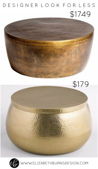 Designer Look for Less: Gold Hammered Coffee Table ...