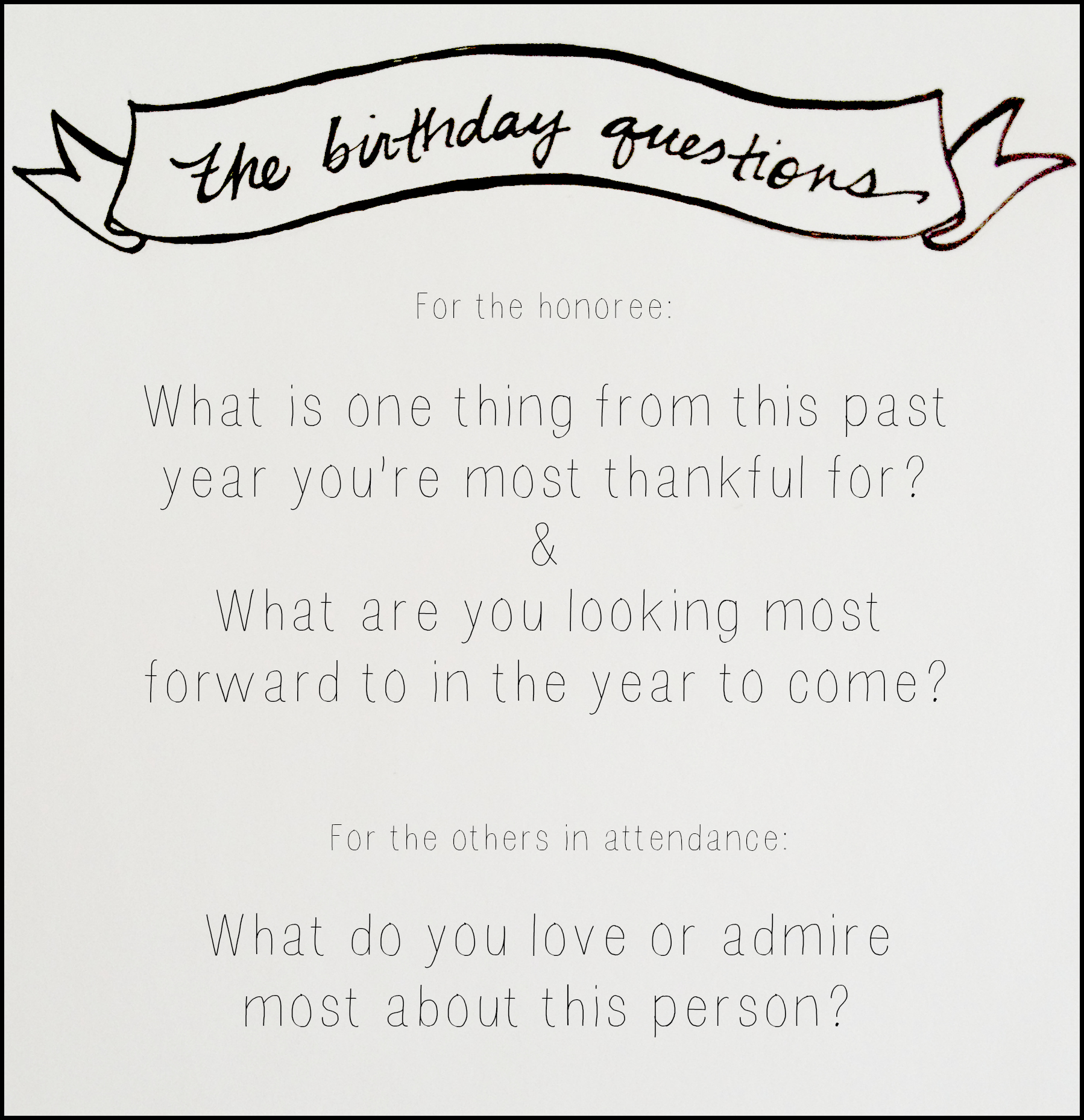 The Birthday Questions — Katy Rose
