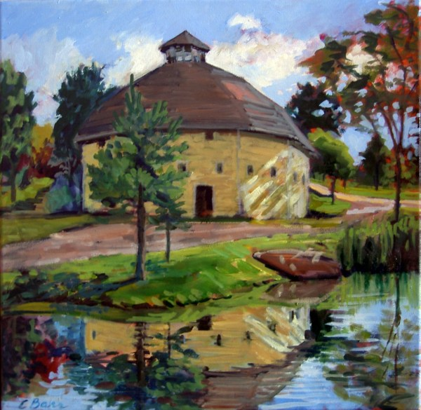 Oil Painting of Round Barn Inn Vermont