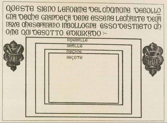 The Bologna stone, showing the four standard paper sizes, circa 1389. Overall dimensions of the stone: 75 x 103 x 3.5 cm. The sizes of the rectangles that indicate paper-sheets, as given by the Museo Civico Medievale, Bologna: 50.5 x 73.5 cm; 44.5 x 61 cm; 34.5 x 50 cm; 31.5 x 44.5 cm. (Museo Civico Medievale, Bologna.)  Faculty.goucher.edu. (2017). Hand-Press Book Paper Sizes. [online] Available at: http://faculty.goucher.edu/eng241/handpress_book_paper_sizes.htm [Accessed 3 Nov. 2017].