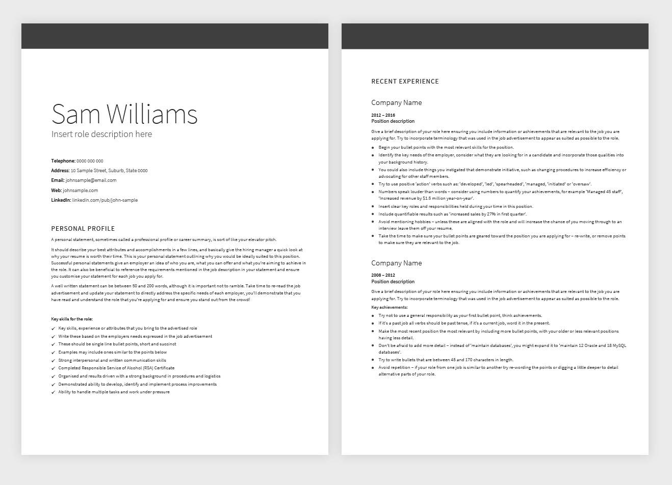 executive classic format resume template