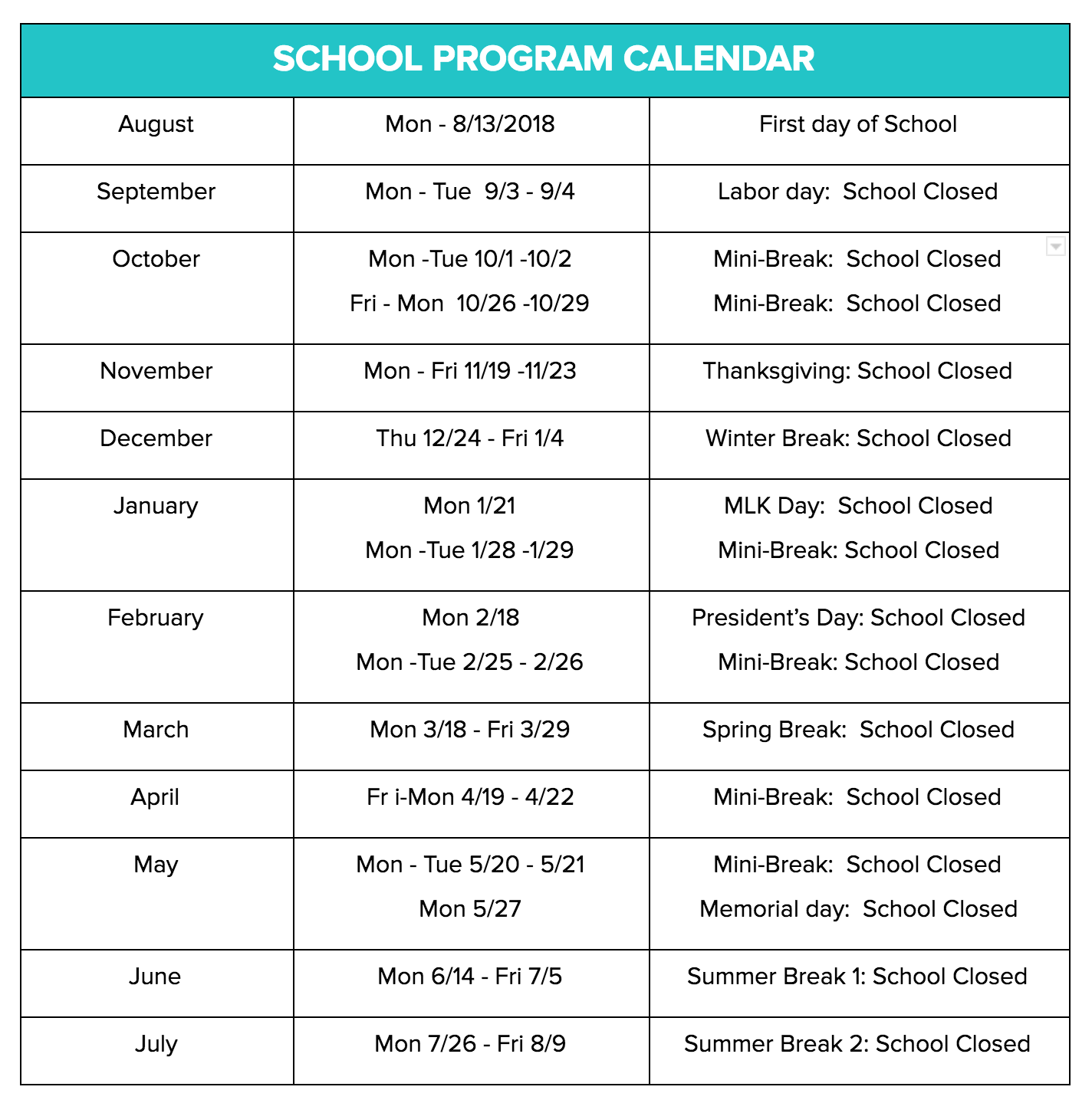 24/7 Learning Academy Schedule