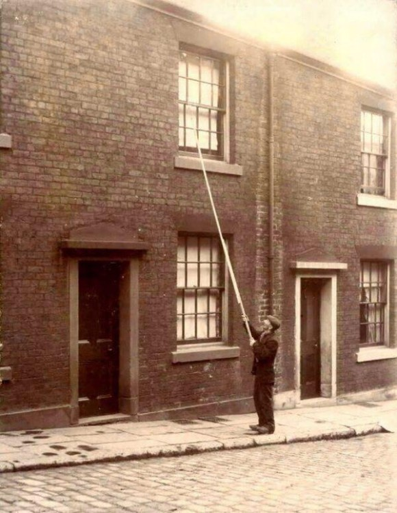 "The ""Knocker-up,"" used circa 1900s in the UK. Beats the iPhone alarm clock."