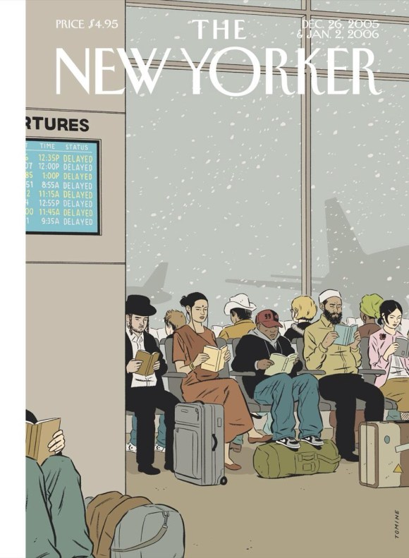 Just replace this 2006New Yorker cover with phones and tablets and it'll be 2014. Also replace the books with social networks, games, and Buzzfeed. No one reads anymore, in long-form anyway.