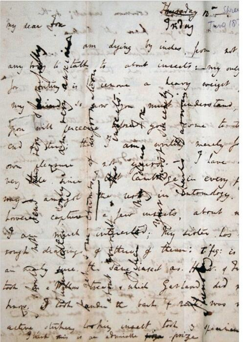 Charles Darwin's cross-writing, a technique for saving writing paper. 1828 - @History_Pics