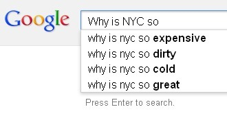 Google autocompletes New York.